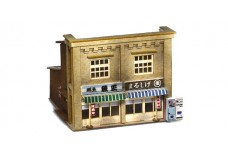 Sankei Japanese 2 story shop - tan with blue roof SAN14278
